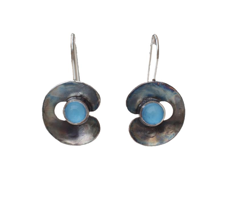 Krini Ασημένια σκουλαρίκια γάντζοι με γαλάζιο Αμαζονίτη