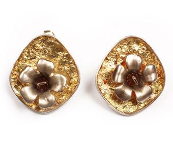Krini Aσημένια καρφωτά σκουλαρίκια με ψήγματα χρυσού 22Κ
