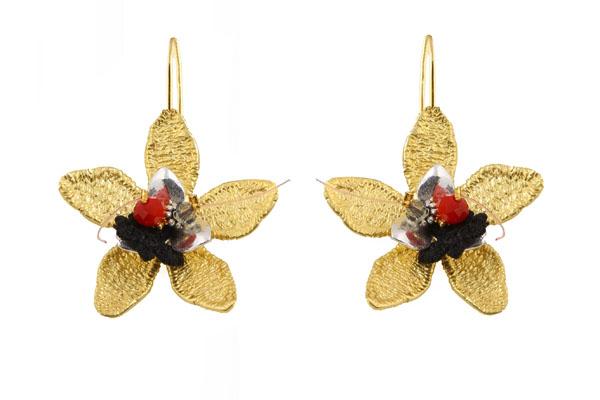 Krini Aσημένια σκουλαρίκια μπρούτζινα λουλούδια με Swarovski