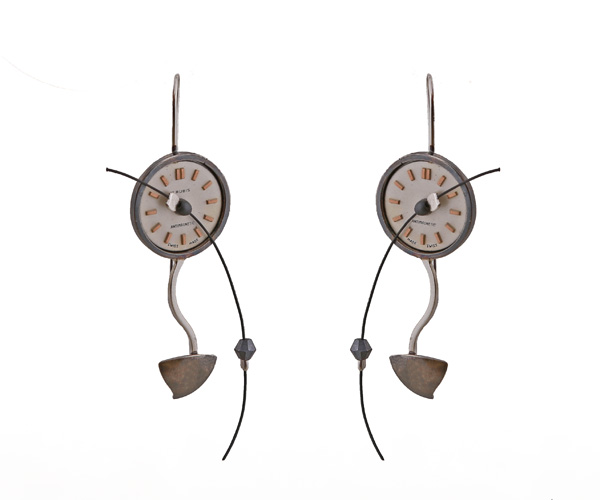 Krini Aσημένια σκουλαρίκια vintage ρολόι
