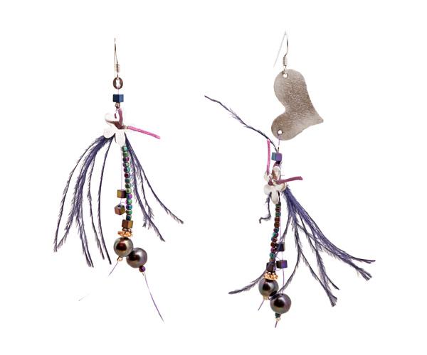 Krini Aσημένια κρεμαστά σκουλαρίκια καρδιά με φτερά