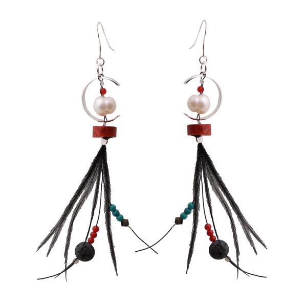 Krini Aσημένια κρεμαστά σκουλαρίκια ημικύκλιο με φτερά