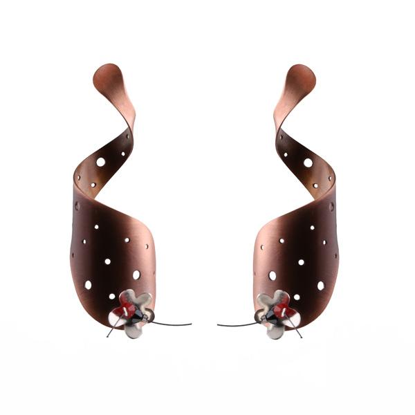Krini Κρεμαστά σκουλαρίκια από ασήμι, χαλκό και Swarovski