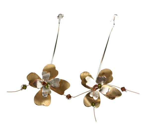 Krini Aσημένια σκουλαρίκια λουλούδια με Swarovski