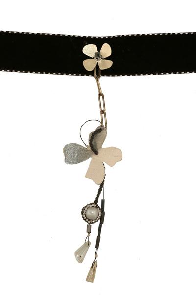 Krini Ασημένιο κολιέ τσόκερ κρεμαστό λουλούδι με βελούδο