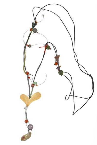 Krini Ασημένιο μακρύ κολιέ καρδιά με μπρούτζο και Swarovski