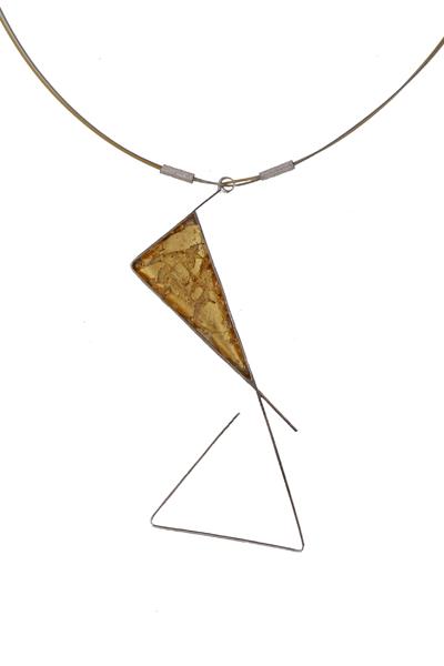Krini Aσημένιο κολιέ τρίγωνο με ψήγματα χρυσού