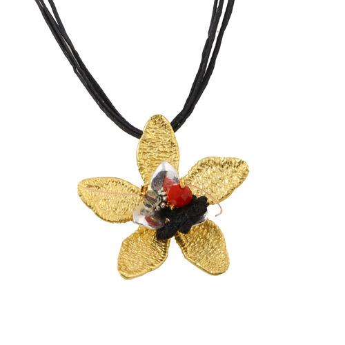 Krini Ασημένιο κολιέ λουλούδι από μπρούτζο