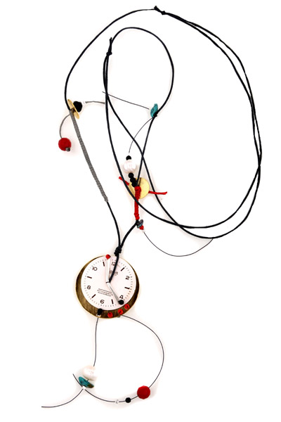 Krini Ασημένιο μακρύ κολιέ ρολόι με πέτρες και Swarovski