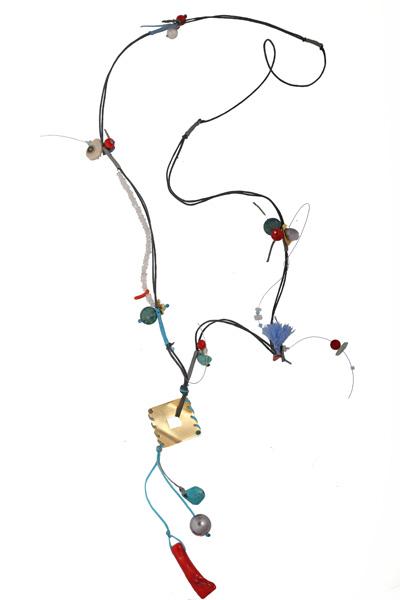 Krini Ασημένιο μακρύ κολιέ ρόμβος με κοράλλια και Swarovski