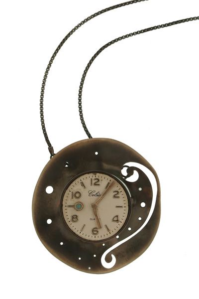 Krini Aσημένιο κολιέ vintage ρολόι σε αλυσίδα