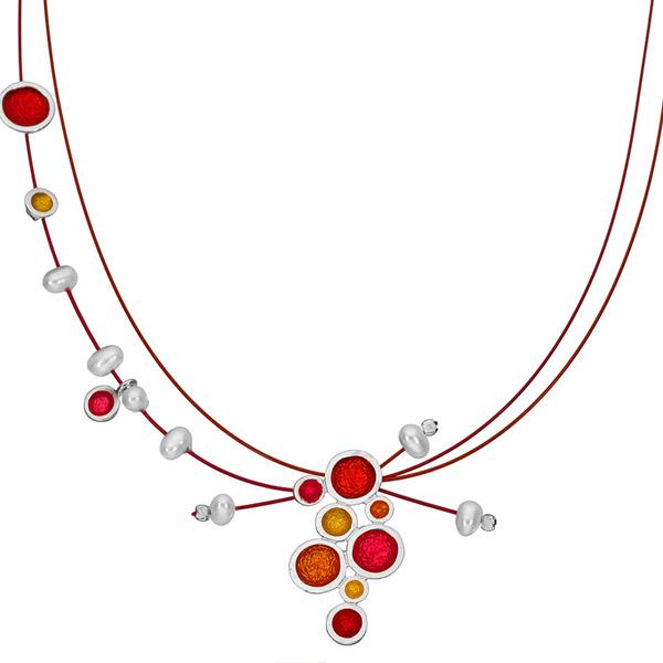 Onirolithi Ασημένιο κολιέ χρωματιστές φούσκες