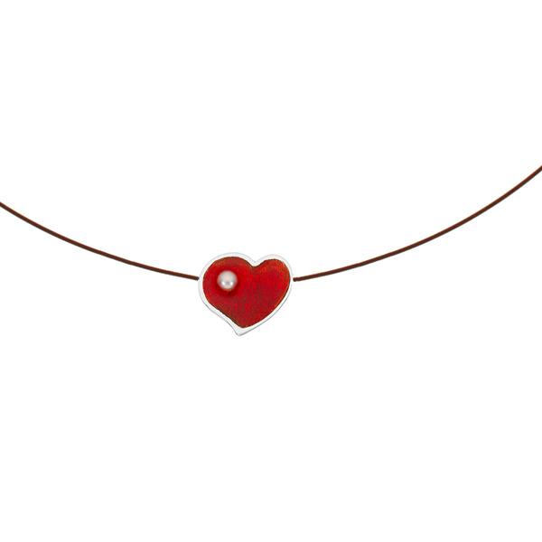 Onirolithi Ασημένιο κολιέ κόκκινη καρδιά