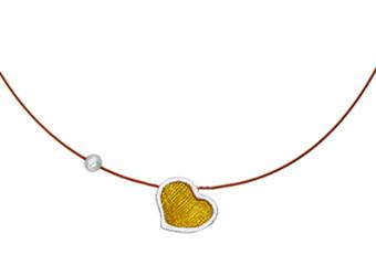 Onirolithi Ασημένιο κολιέ κίτρινη καρδιά
