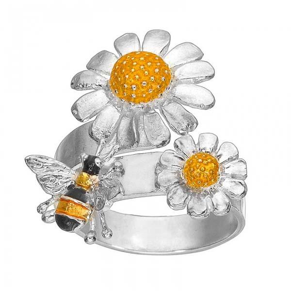 Onitolithi Ασημένιο δαχτυλίδι μέλισσακαι χαμομήλι με σμάλτο