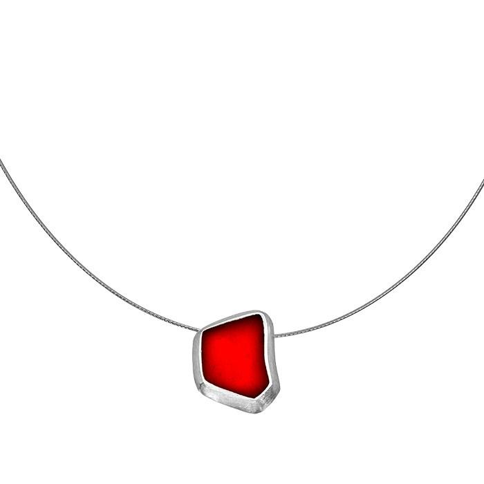 Onirolithi Ασημένιο πολυγωνικό κόκκινο μενταγιόν σε λαιμαριά