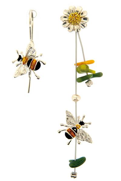 Onirolithi Ασημένια σκουλαρίκια μελισσες και χαμομήλι