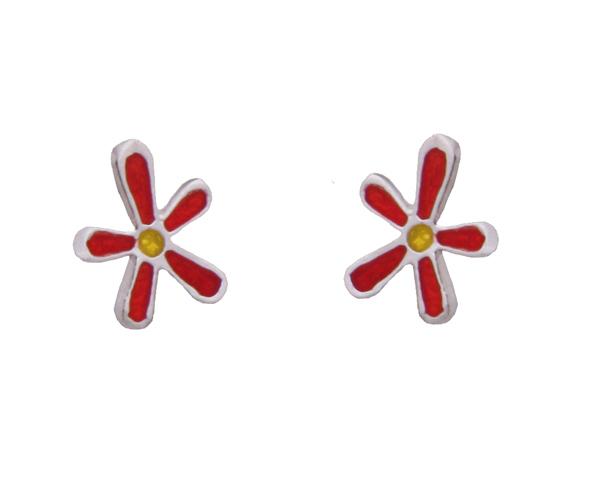 Onirolithi Ασημένια καρφωτά σκουλαρίκια λουλούδια