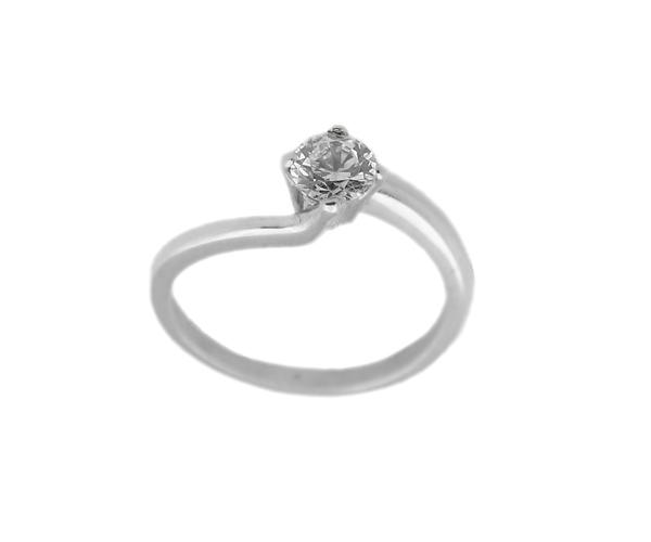Jt Ασημένιο μονόπετρο δαχτυλίδι με λευκό ζιργκόν 5mm