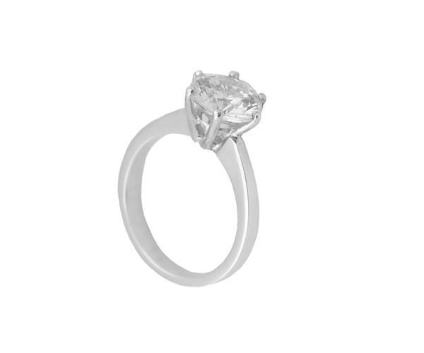 Jt Λευκόχρυσο μονόπετρο δαχτυλίδι 14Κ με λευκό ζιργκόν 8mm