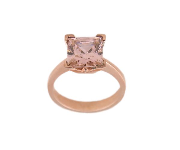 Jt Μονόπετρο ασημένιο δαχτυλίδι με τετράγωνο ροζ ζιργκόν