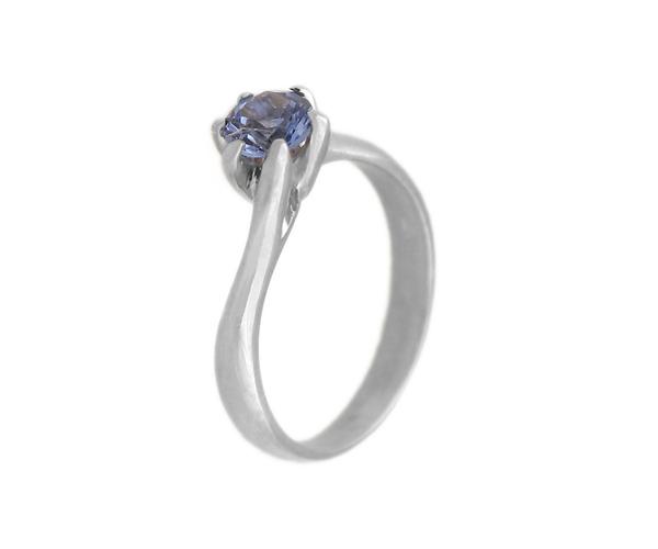 Jt Λευκόχρυσο μονόπετρο δαχτυλίδι 14Κ με μπλε ζιργκόν 5mm