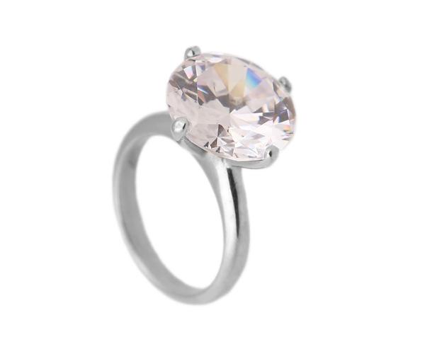 Jt Λευκόχρυσο μονόπετρο δαχτυλίδι 14Κ με ζιργκόν 14mm