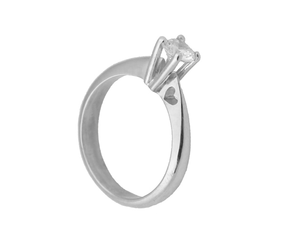 Jt Λευκόχρυσο μονόπετρο δαχτυλίδι 14Κ καρδιά με ζιργκόν