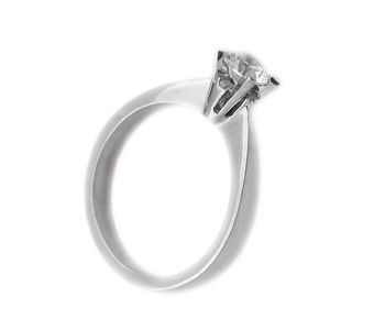 Jt Λευκόχρυσο μονόπετρο δαχτυλίδι 14Κ με λευκό ζιργκόν 4mm