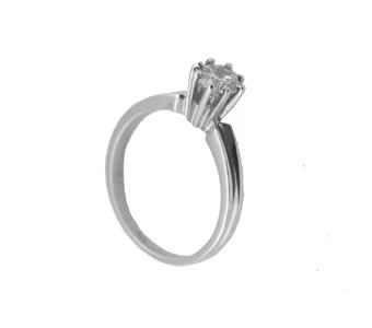 Jt Μονόπετρο λευκόχρυσο δαχτυλίδι με λευκό ζιργκόν 5mm