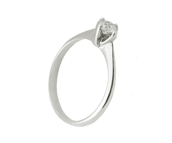 Jt Μονόπετρο ασημένιο δαχτυλίδι με λευκό ζιργκόν 4mm