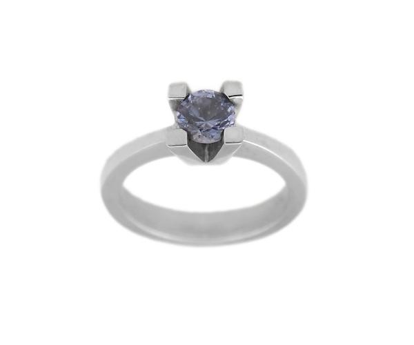 Jt Λευκόχρυσο μονόπετρο δαχτυλίδι 14Κ με μπλε ζιργκόν
