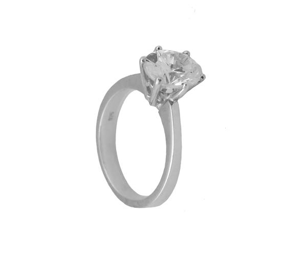 Jt Μονόπετρο ασημένιο δαχτυλίδι με οβάλ λευκό ζιργκόν