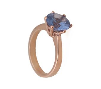 Jt Μονόπετρο δαχτυλίδι με ροζ χρυσό 14Κ και μπλε ζιργκόν