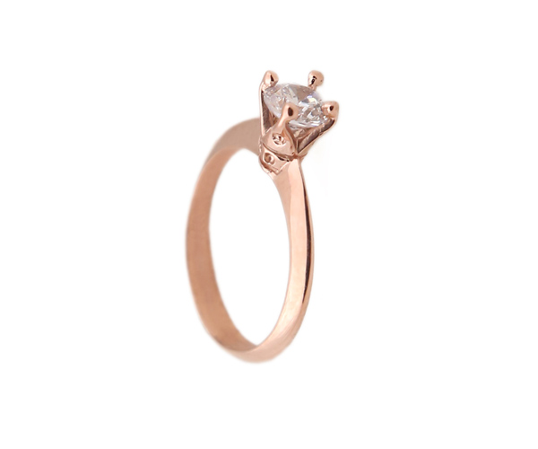 Jt Μονόπετρο δαχτυλίδι με ροζ χρυσό 14Κ και ζιργκόν 5mm