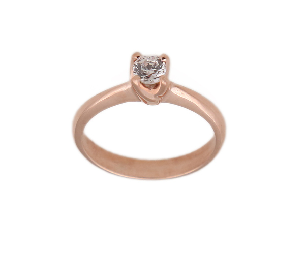 Jt Μονόπετρο δαχτυλίδι με ροζ ασήμι και λευκό ζιργκόν 6mm