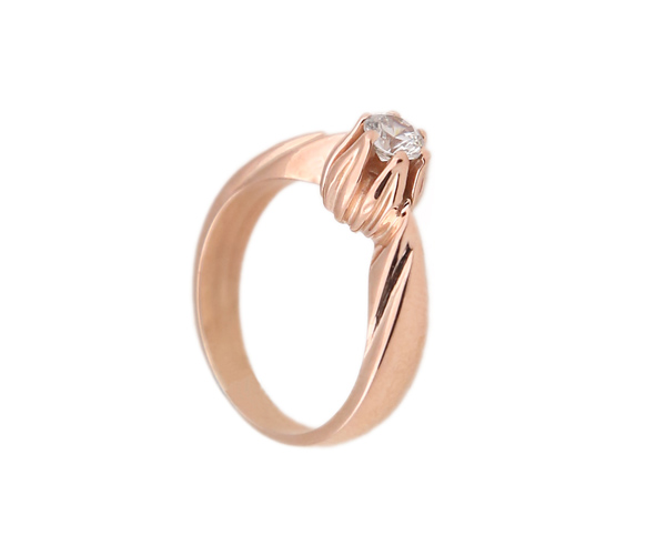 Jt Μονόπετρο ασημένιο δαχτυλίδι ροζ επιχρύσωμα και ζιργκόν
