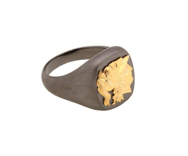 Jt Ανδρικό ασημένιο δαχτυλίδι κεφαλή της θεάς Αθηνάς