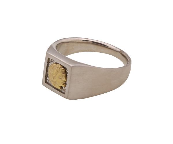Jt Ανδρικό δαχτυλίδι σεβαλιέ χρυσή κεφαλή Μεγάλου Αλεξάνδρου