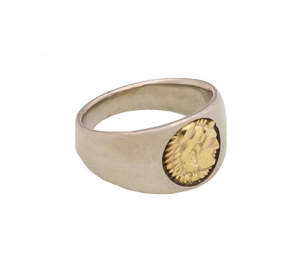 Jt Ανδρικό δαχτυλίδι με χρυσή κεφαλή Μέγας Αλέξανδρος