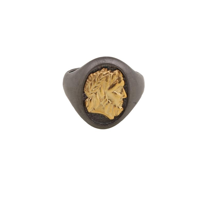 Jt Ανδρικό δαχτυλίδι με χρυσή κεφαλή του βασιλιά Φιλίππου