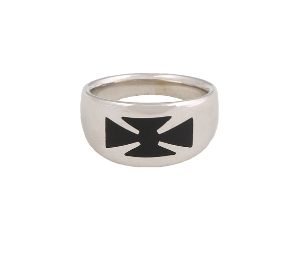 Jt Ασημένιο ανδρικό δαχτυλίδι με σταυρό από μαύρο σμάλτο