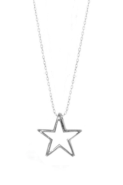 Jt Ασημένιο κολιέ αστέρι με αλυσίδα
