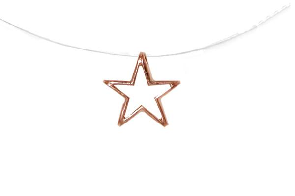 Jt Κολιέ αστέρι από ροζ ασήμι με πετονιά