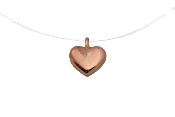 Jt Κολιέ καρδιά από ροζ ασήμι με πετονιά