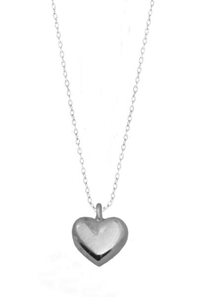 Jt Ασημένιο κολιέ καρδιά με αλυσίδα