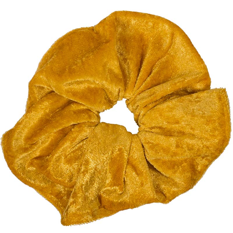 AD Χειροποίητο εντυπωσιακό μουσταρδί βελούδινο scrunchie