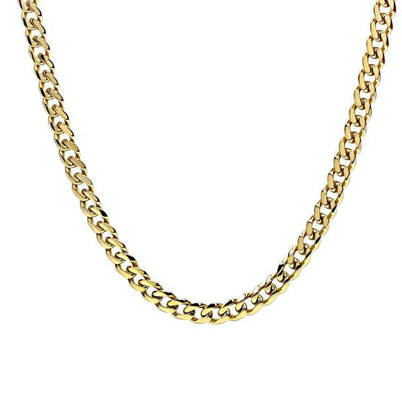 Jt Ατσάλινη ανδρική αλυσίδα λαιμού χρυσή παχιά κοντή 9mm