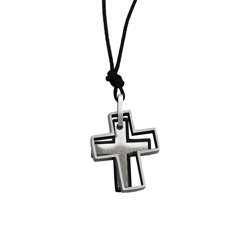 SL Ανδρικός διπλός σταυρός από ανοξείδωτο ατσάλι