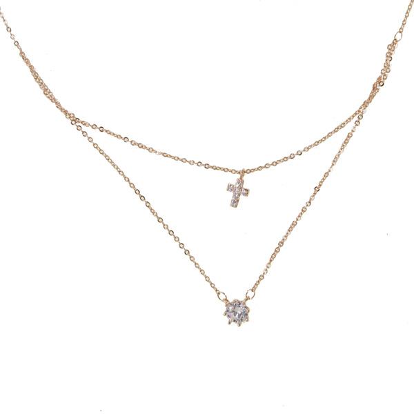 Mc Ατσάλινο διπλό κολιέ μονόπετρο-σταυρός